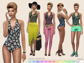 Sims 4 — Floral Bodysuit by Paogae — Floral pattern bodysuit with deep v-neck, 14 colors, to be used as bodysuit,