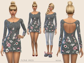 Sims 4 — Floral Dress by Paogae — Mini dress, one color, floral pattern, long sleeves and opening on the back. To be used