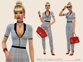 Sims 4 — Prince of Wales Jumpsuit by Paogae — Classy jumpsuit, Prince of Wales pattern, the must have of this season