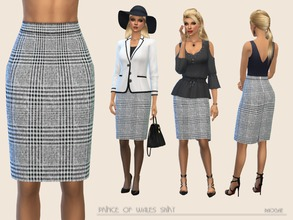 Sims 4 — Prince of Wales Skirt by Paogae — Classic knee-length skirt, Prince of Wales pattern, zipper on the back, to