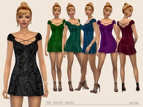Sims 4 — Silk Short Dress by Paogae — Mini damask silk dress, shiny, in six colors, to be used as a dress or as a