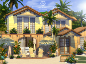 Sims 4 — Tropical House - Base Game by Aquarhiene — Sunny house for your simmies! Interior contains: Kitchen with dining