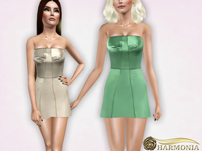 Sims 3 — Strapless Satin Mini Dress by Harmonia — 4 color recolorable Mesh By Harmonia Please do not use my textures.