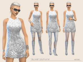 Sims 4 — Silver Future by Paogae — Silver mini dress, to go into the future and return .... or to shine on the Earth!
