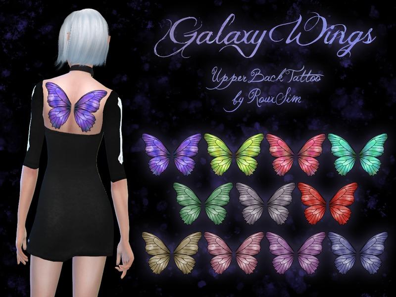 71e56d0ff RouxSim's Galaxy Wings - Butterfly Wings Upper Back Tattoo