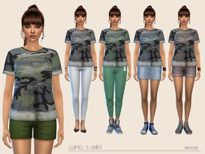 Sims 4 — Camo T-shirt by Paogae — Casual t-shirt with camouflage pattern, five colors, wide and comfortable, to match as