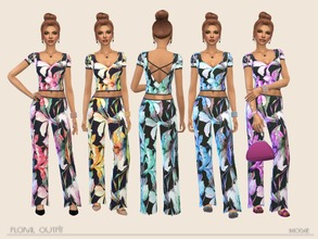 Sims 4 — Floral Outfit by Paogae — Nice outfit with floral pattern, short sleeves blouse and wide trousers, in five