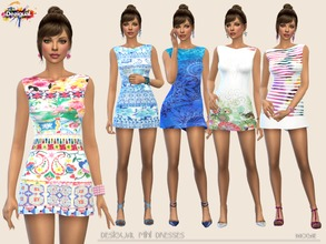 Sims 4 — Desigual mini dresses by Paogae — Five mini dresses with Desigual brand patterns, cheerful and funny for your