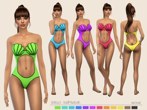 Sims 4 — ShellsSwimwear by Paogae — Cute swimsuit, twelve colors, with drawn seashells on the breast and openings on