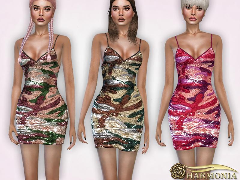 71f728bf Harmonia's Camouflage Sequin Bodycon Dress