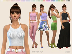 Sims 4 — Cotton Top by Paogae — Short cotton top, 28 colors, perfect to combine with skirts and trousers in many