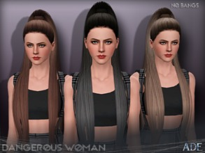 Sims 3 — Ade - Dangerous Woman (Without Bangs) by Ade_Darma — New Hair Mesh No Morph all Bones assigned All LODs