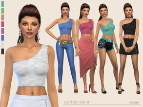 Sims 4 — Cotton Top 2 by Paogae — One shoulder cotton top, 8 colors, perfect to combine with skirts and trousers in many