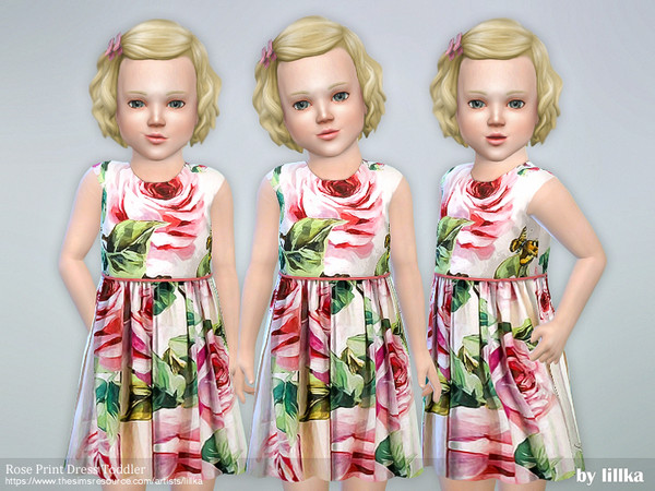 Rose Print Dress Toddler by lillka