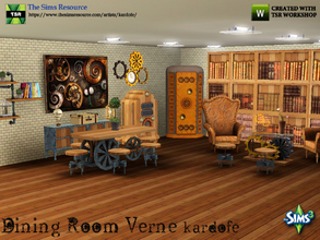 Sims 3 — kardofe_Dining Room Verne by kardofe — Dining room with seating area, steampunk style. Composed of furniture