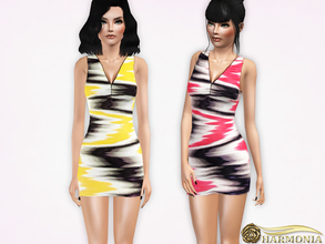 Sims 3 — Sleeveless Zig-Zag V-Neck Mini Dress by Harmonia — 3 color not-recolorable Please do not use my textures. Please