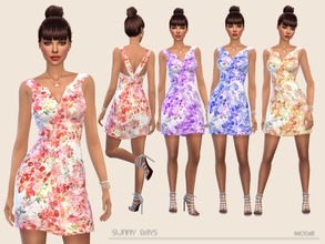 Sims 4 — Sunny Days by Paogae — Summer mini dress with floral pattern in four colors, to be used in a thousand ways and