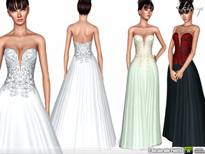 Sims 3 — Strapless Deep V-Neck Gown by ekinege — Embellished bodice strapless dress. 2 recolorable parts. Custom mesh by
