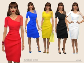 Sims 4 — FashionDress by Paogae — Fashion dress in five solid colors, short sleeves, one of which transparent, draping at
