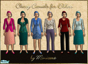 Sims 2 — Classy Casuals for Elders by minicart — Set of 6 classy everyday outfits for your more mature female Sim.