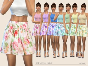 Sims 4 — PrimaveraSkirt by Paogae — Floral mini skirt, eight colors, curled at the waist, slightly flared ... ready for
