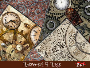 Sims 4 — Retro Sci-fi rugs by evi —  Four variations rugs with steampunk theme.