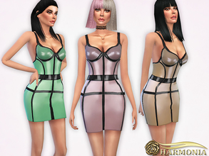 Sims 4 — Pearl-sheen Latex Cage Dress by Harmonia — 5 color Mesh By Harmonia Please do not use my textures. Please do not