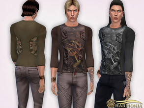 Sims 4 — Steampunk Gear Printing Tops by Harmonia — 5 color Please do not use my textures. Please do not re-upload.