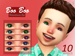 Sims 4 — BooBoo Heterochromia Eye (toddler) by LJP-Sims — -with 10 swatch -cas categories Earring -for toddlers only