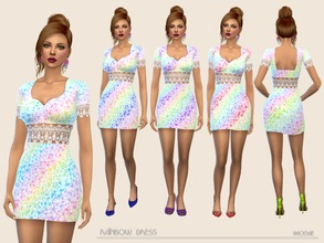 Sims 4 — Rainbow Dress by Paogae — Mini dress with lace and rainbow colors, for the spring and summer of our sims.