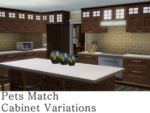 Sims 3 — MZ_Pets Match Cabinet Variations by missyzim — A set of shallow cabinets and a range hood to match the Pets