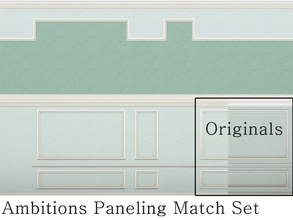 Sims 3 — MZ Ambitions Paneling Match Set by missyzim — A set of walls to match the Ambitions Simple Paneling, including