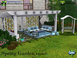 Sims 3 — kardofe_Spring Garden by kardofe — Set for the garden, consisting of a large wooden pergola, a rocker, set of