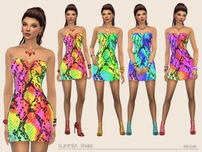 Sims 4 — SummerSnake by Paogae — An eye-catching pattern, summer and colorful, this mini dress is perfect for girls that