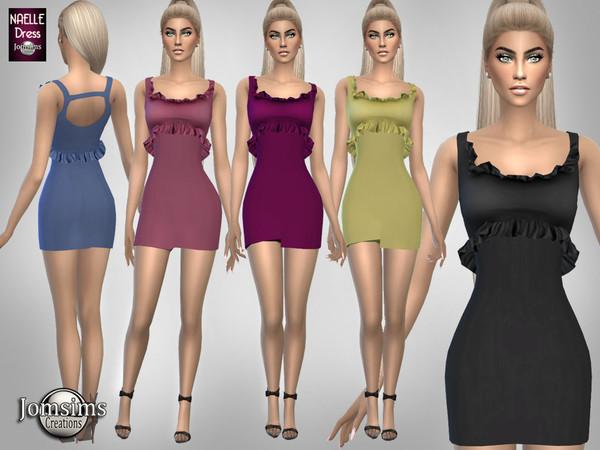 Короткое платье с оборками для Симс 4