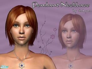 Sims 2 — Flower Pendant Necklace by daLyna — Platinum Flower With A Single Deep Blue Sapphire Pendant Necklace ..::