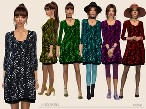 Sims 4 — 4Seasons by Paogae — Black background dress, six colors, perfect for all seasons using the right accessories.