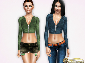 Sims 3 — Zip Front Velvet Crop Top by Harmonia — 3 color. recolorable Please do not use my textures. Please do not