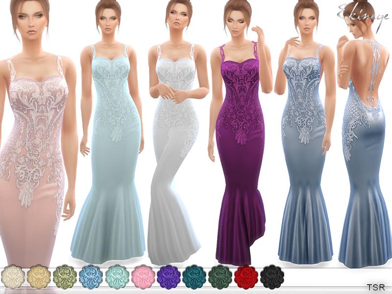 Ekinege s lace appliques gown