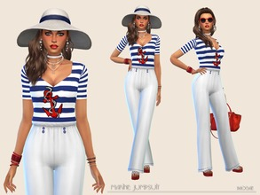 Sims 4 — MarineJumpsuit by Paogae — Navy style jumpsuit, white trousers, white and blue striped top with red anchor.
