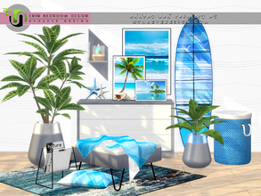 Sims 4 — Erin Bedroom Decor by NynaeveDesign — Experience the beauty and majesty of the beach with these eye catching