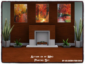 Sims 3 — Dess_Autumn on my Mind. SET* by Xodess — This set consists of three separate files of Autumn paintings for your