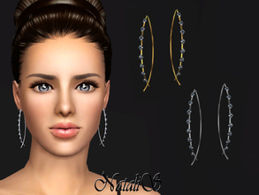 Sims 3 — NataliS TS3 Fish shaped earrings with crystals by Natalis — Fish shaped wire earrings with crystals. FT-FA-FE 2