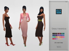 Sims 4 — Dress Veronica by Elfdor — - 30 swatches - new mesh - 2 versions - everyday, formal, party - teen to elder -