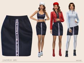 Sims 4 — ChampionSkirt by Paogae — Simple and nice sporty skirt, midnight blue only, with Champion logo on the front,