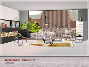 Sims 3 — Bedroom Endeun  by ung999 — This modern bedroom set includes the following 9 items: Bed Double Blanket Deco Wall