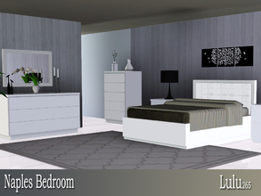 Sims 3 — Naples Bedroom  by Lulu265 — A modern minimalist bedroom set , with sleek clean lines. The padded headboard