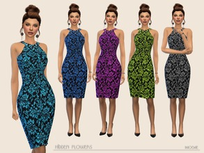 Sims 4 — HiddenFlowers by Paogae — Elegant black pencil dress with floral pattern in five colors, bare shoulders, so