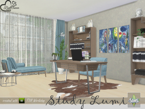 Sims 4 — Study Lumi by BuffSumm — A new Study / Office for your Sims... Clean structure, playing with wood, colors and