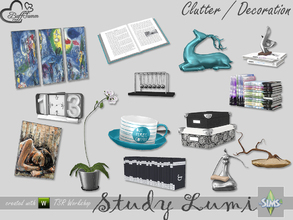 Sims 4 — Study Lumi Clutter by BuffSumm — Clutter matching the Study / Office Lumi Have fun